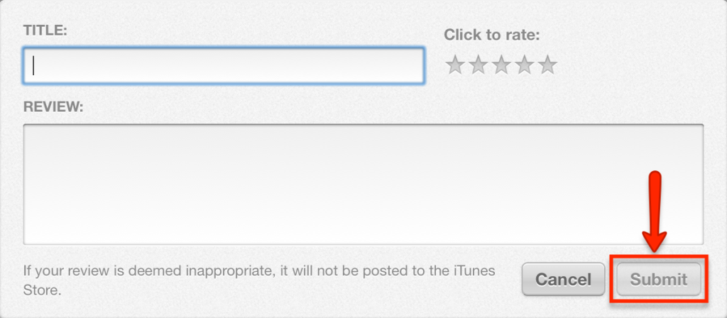 Leave a review on itunes step 5